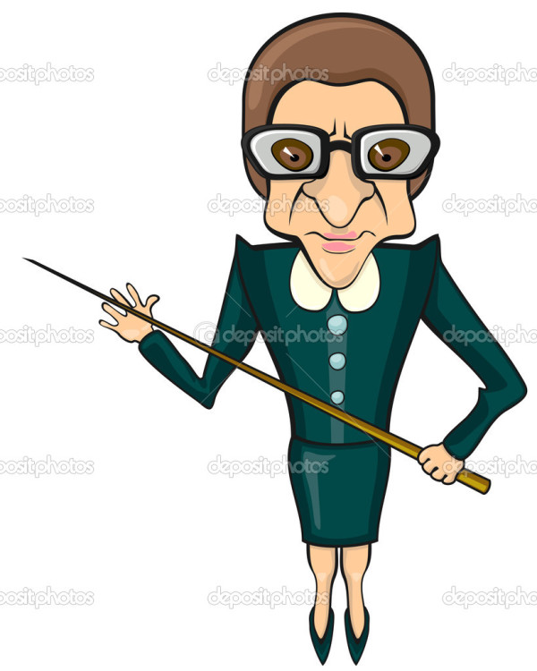 Bad tempered female full size teacher with pointer